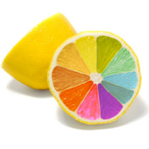 Lemon with multi-coloured segments