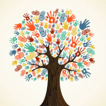 Tree with different coloured hands for leaves depicting diversity