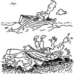 Cartoon of man rowing in boat and underneath him crashing the boat