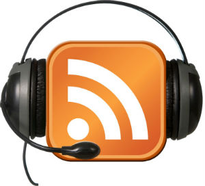 Podcast icon with earphones around it