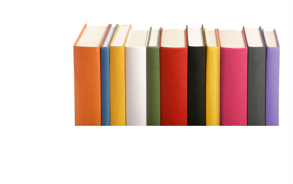 Different coloured books in a row