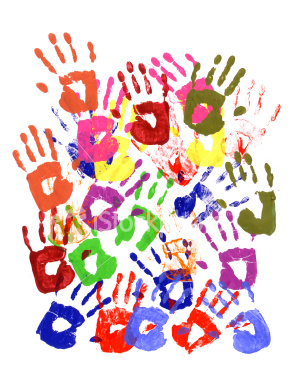 Multi-coloured painted hand prints