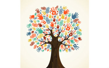 Tree with multi-coloured hands as trees - diversity
