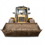 Bulldozer with white background