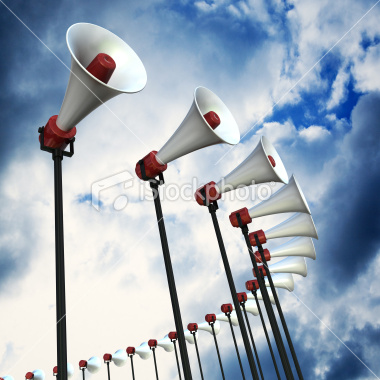 Announcement - picture of loud speakers with blue sky as backdrop