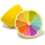 Lemon with multi-coloured segments
