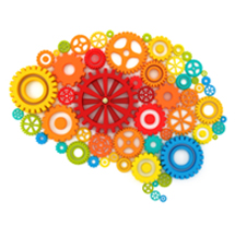 Graphic of brain filled with multi-coloured cogs - Mental Health Awareness Training
