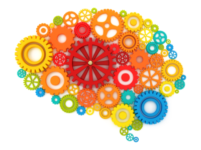 Brain shape filled with many different coloured cogs
