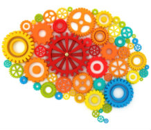 Coloured Cogs in the shape of a Brain - Mental Health Awareness