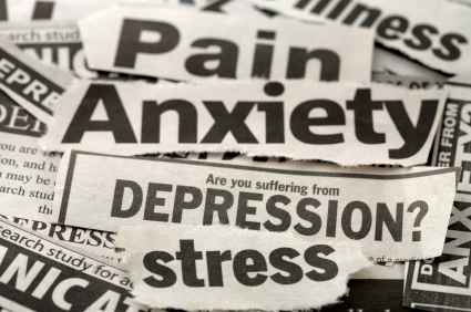 Clippings from newspaper headlines - mental health related terms