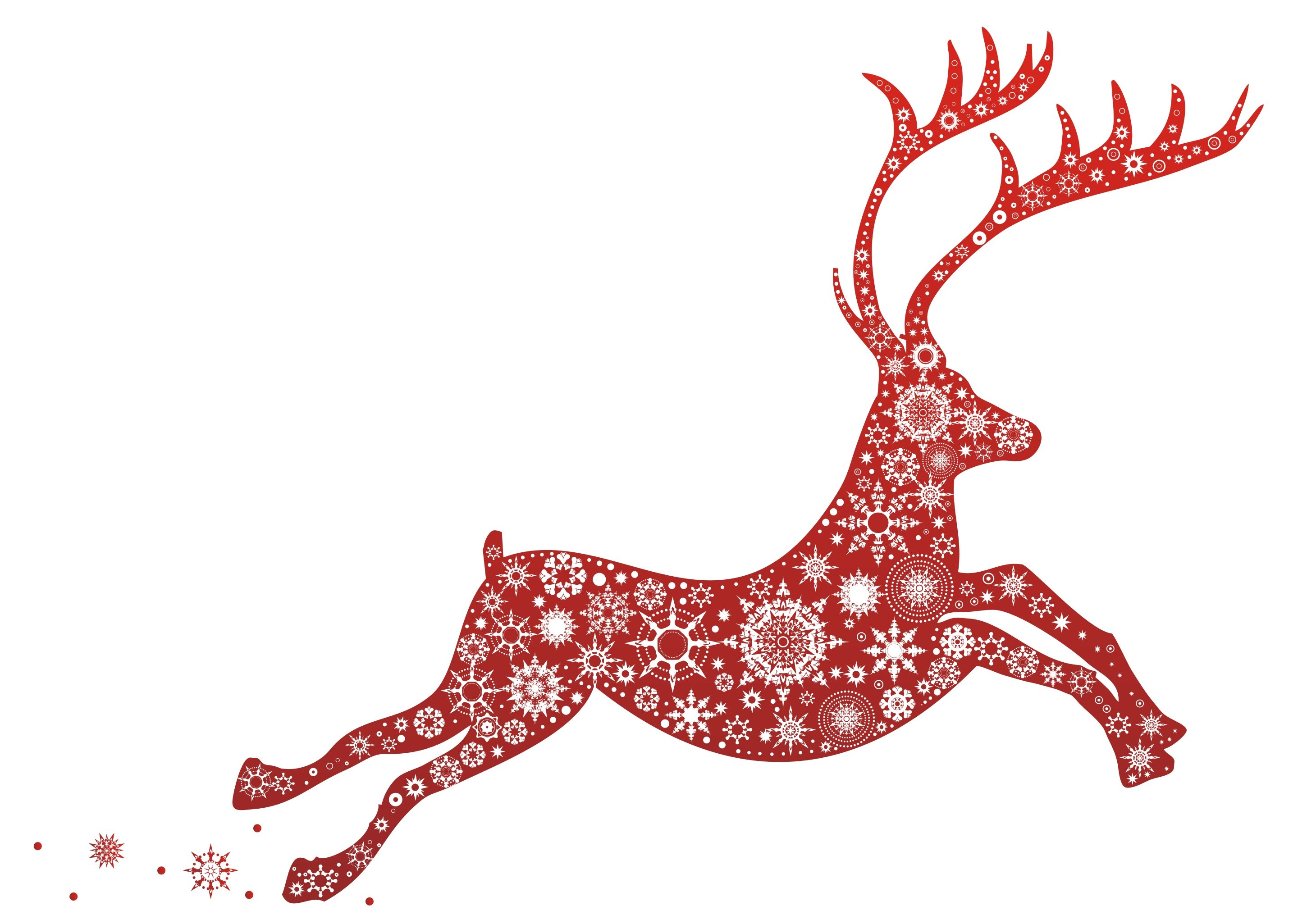 Red reindeer graphic filled with snowflakes pattern