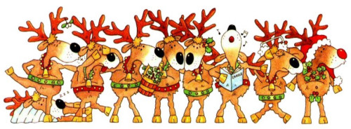 cartoon of reindeer in a row