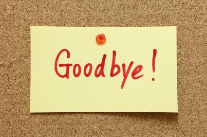 Goodbye written on post it note