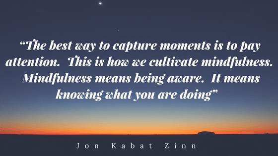 The best way to capture moments is to pay attention. This is how we cultivate mindfulness. Mindfulness means being aware. It means knowing what you are doing. Jon Kabat Zinn