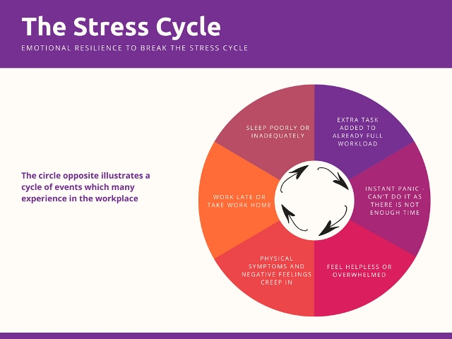 Circle chart showing the feelings/effects of receiving an extra task to an already full workload