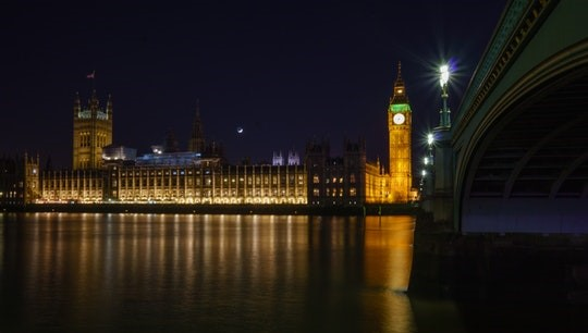 The Palace of Westminster at night taken from across the Thames