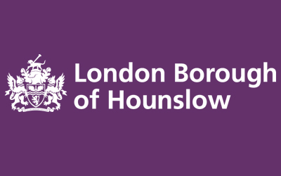 Purple and white logo of the London Borough of Hounslow