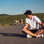 Photo of man sitting in the middle of the road with a herd of cattle coming up the road behind him