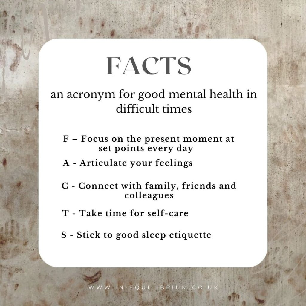 Textured rug background with FACTS acronym giving 5 actions for good mental health