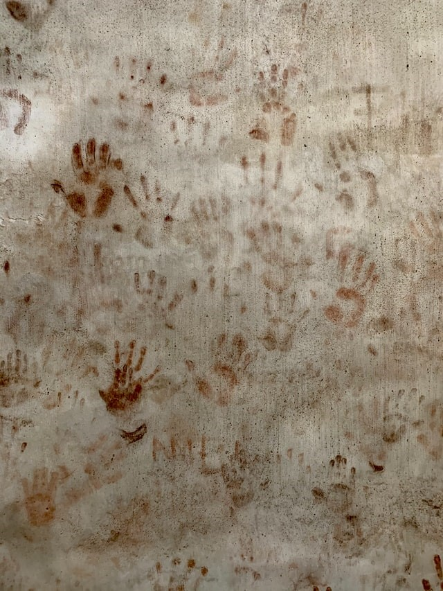 Textured rug iwth hand imprints