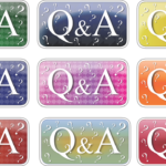 Nine different colour boxes on a grey and white grid background, each box states Q&A with question marks in the background
