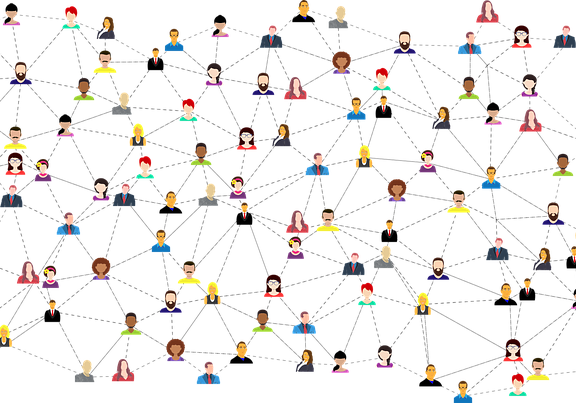 A vector graphic showing social media connections